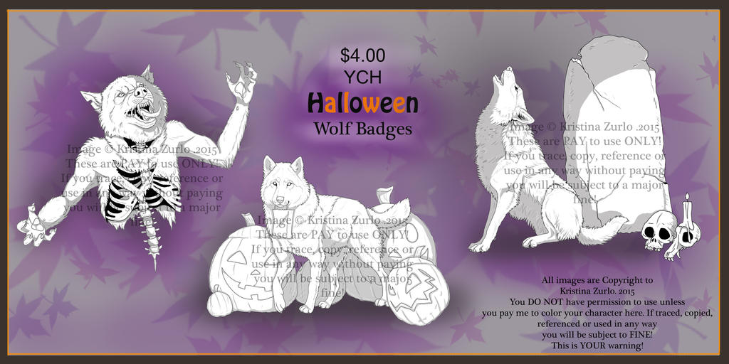 YCH Halloween Wolf Badges 2015 by NatsumeWolf