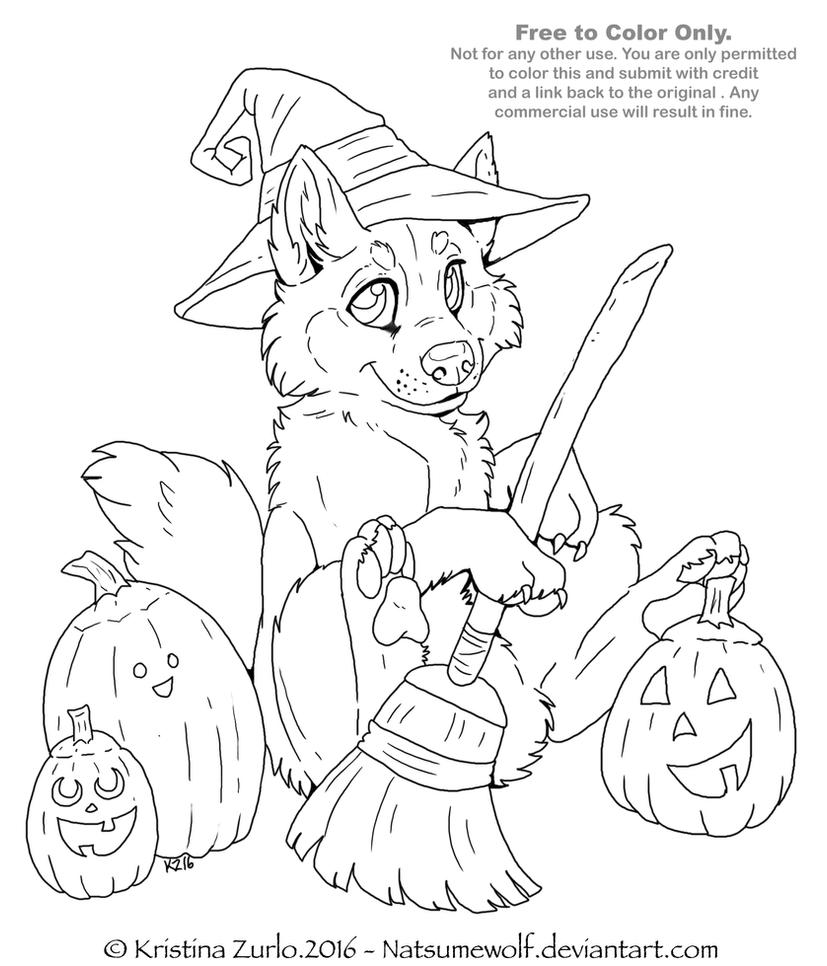 Line Art Halloween : Free to color me halloween pup lineart by natsumewolf on