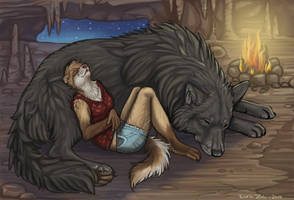 Sleeping Wolf and Ferret by NatsumeWolf