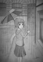 Mila walking in the rain by Dan-Zan