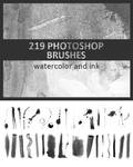 219 Ink and Watercolor Photoshop Brushes