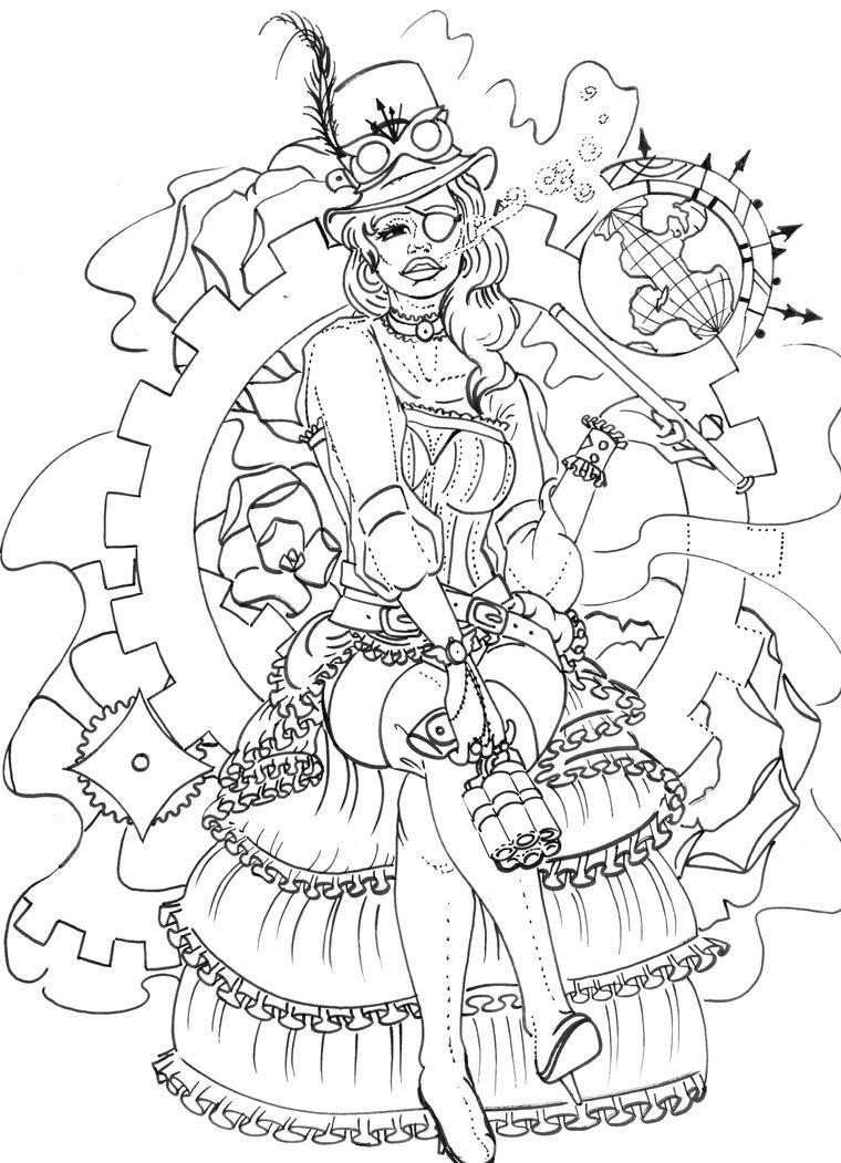 Steampunk Pin-up by bluekrishna