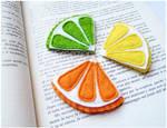 Felt corner citrus fruits bookmarks