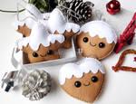 Felt gingerbread cookies cute Christmas ornaments
