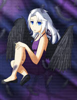 white hair, blue eyes, black wings... by dashofcreativity