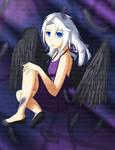 white hair, blue eyes, black wings...