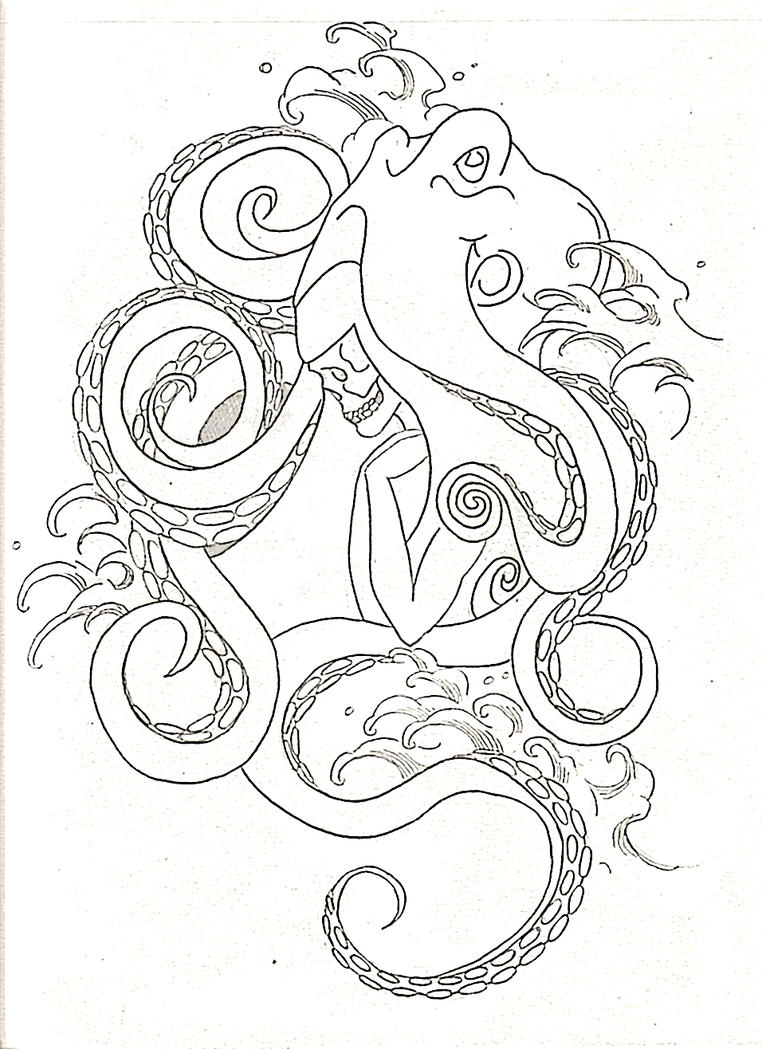 Realistic octopus outline the image kid for Realistic octopus coloring page