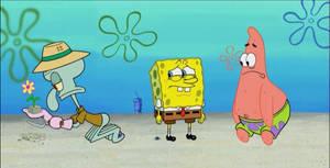 Panorama of Spongebob, Patrick, and Squidward