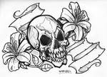 skull with lilly