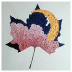 Impasto Crescent Maple Leaf