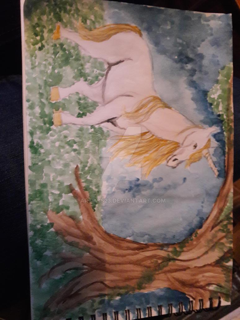 Unicorn watercolour by artimis23