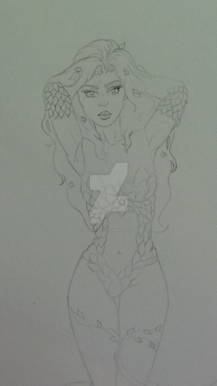 Poison Ivy sketch close up by Divina-H-ART
