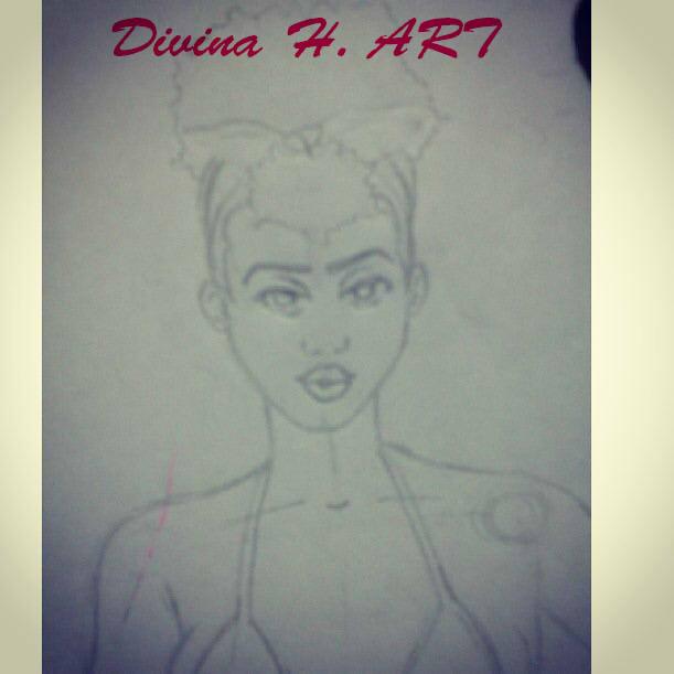 Pin up girl sketch by Divina-H-ART