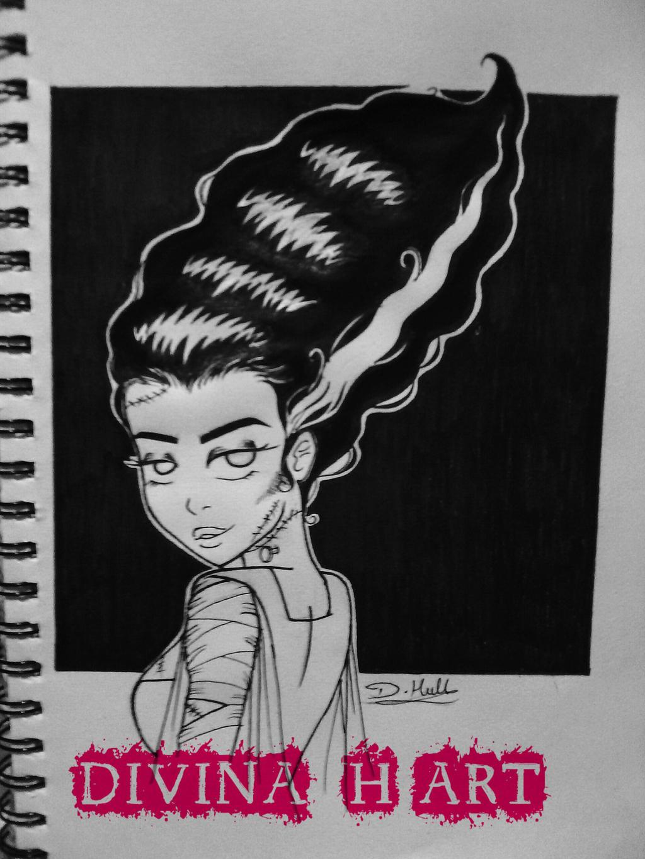 Inktober # 1 Bride of Frankenstein by Divina-H-ART