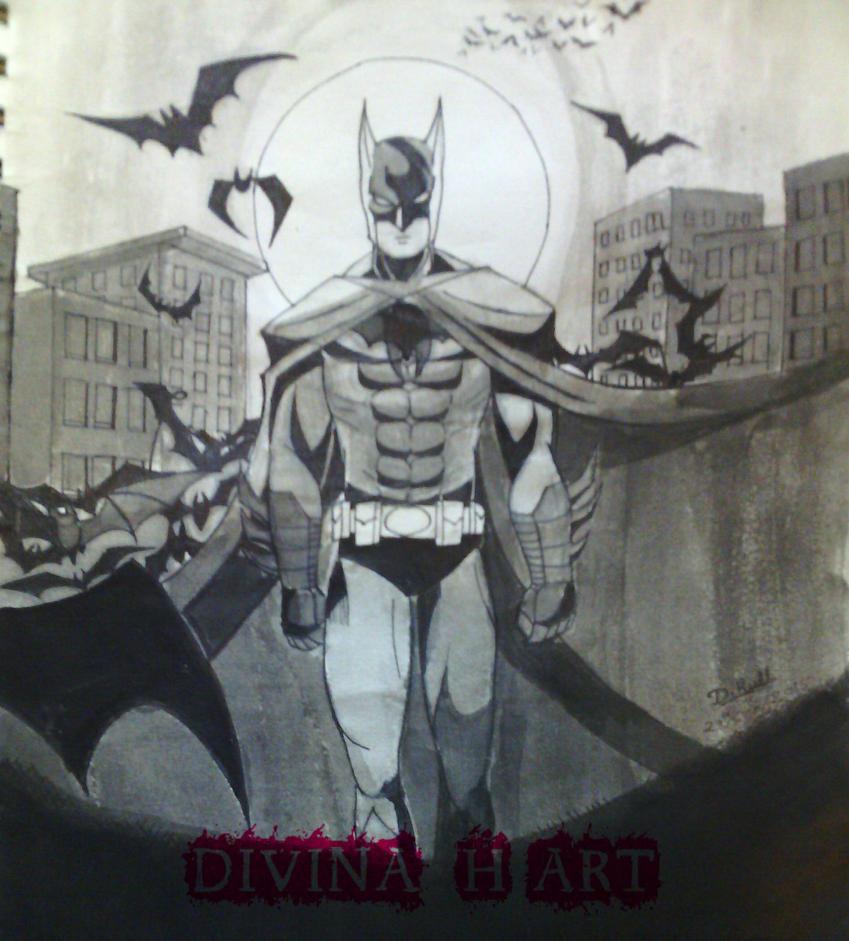 Inktober #2 Batman by Divina-H-ART