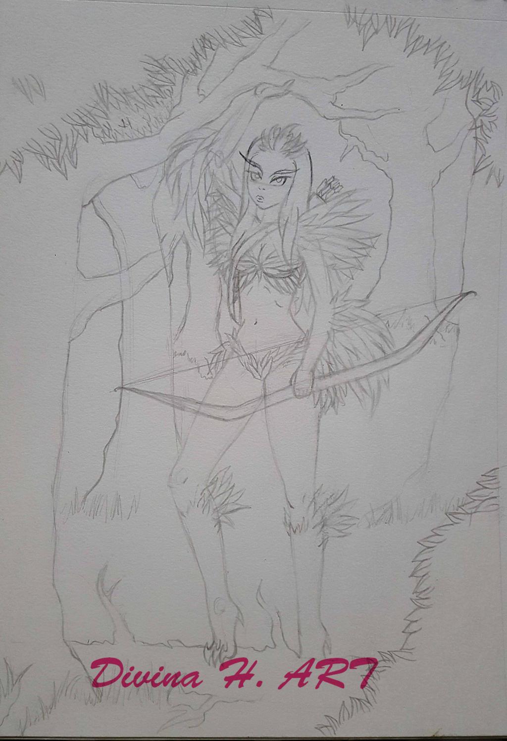 Harpy sketch by Divina-H-ART