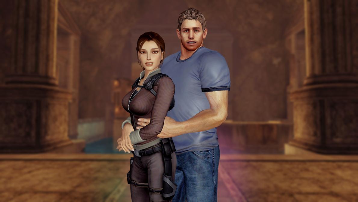 Chris Redfield and Lara Croft by JhonyHebert