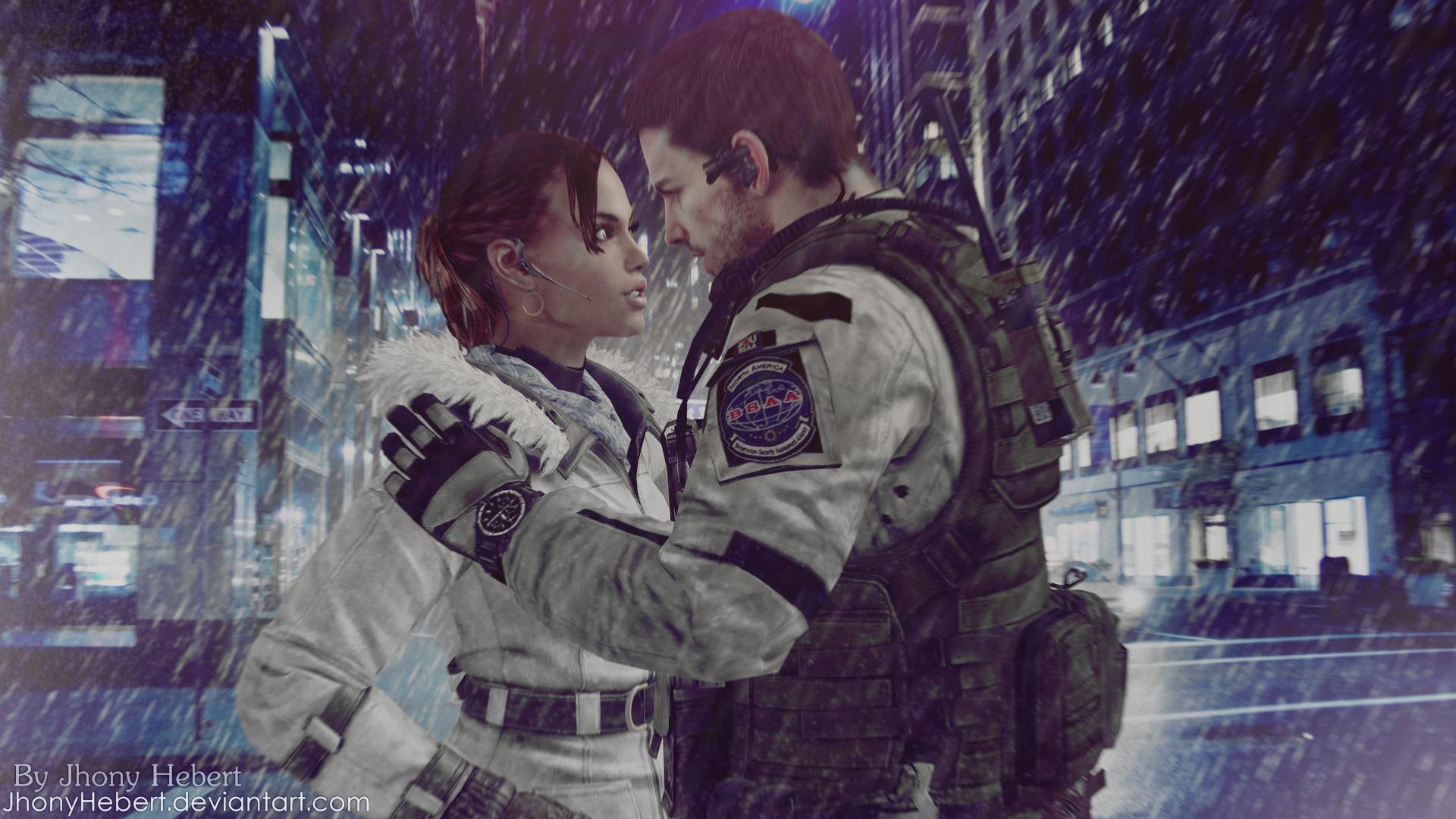 Chris and Sheva in the Rain by JhonyHebert