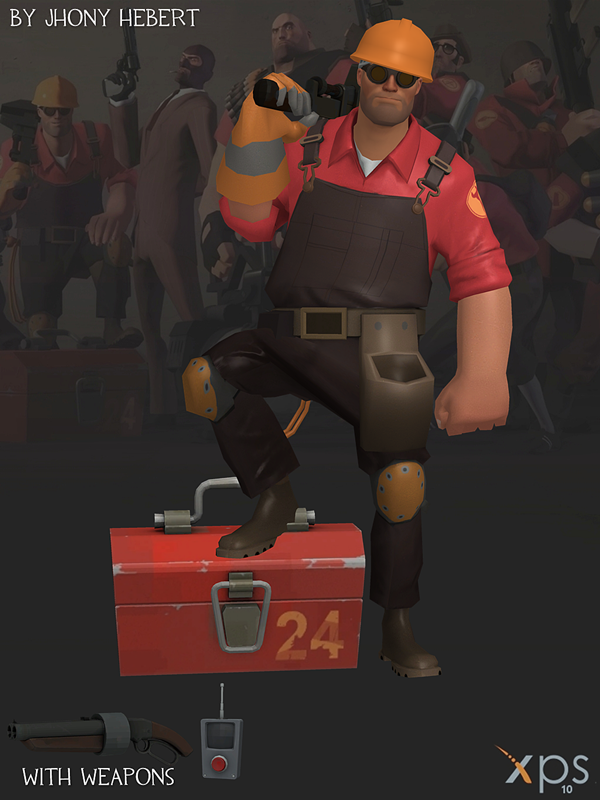 engineer team fortress 2 blue and red by jhonyhebert