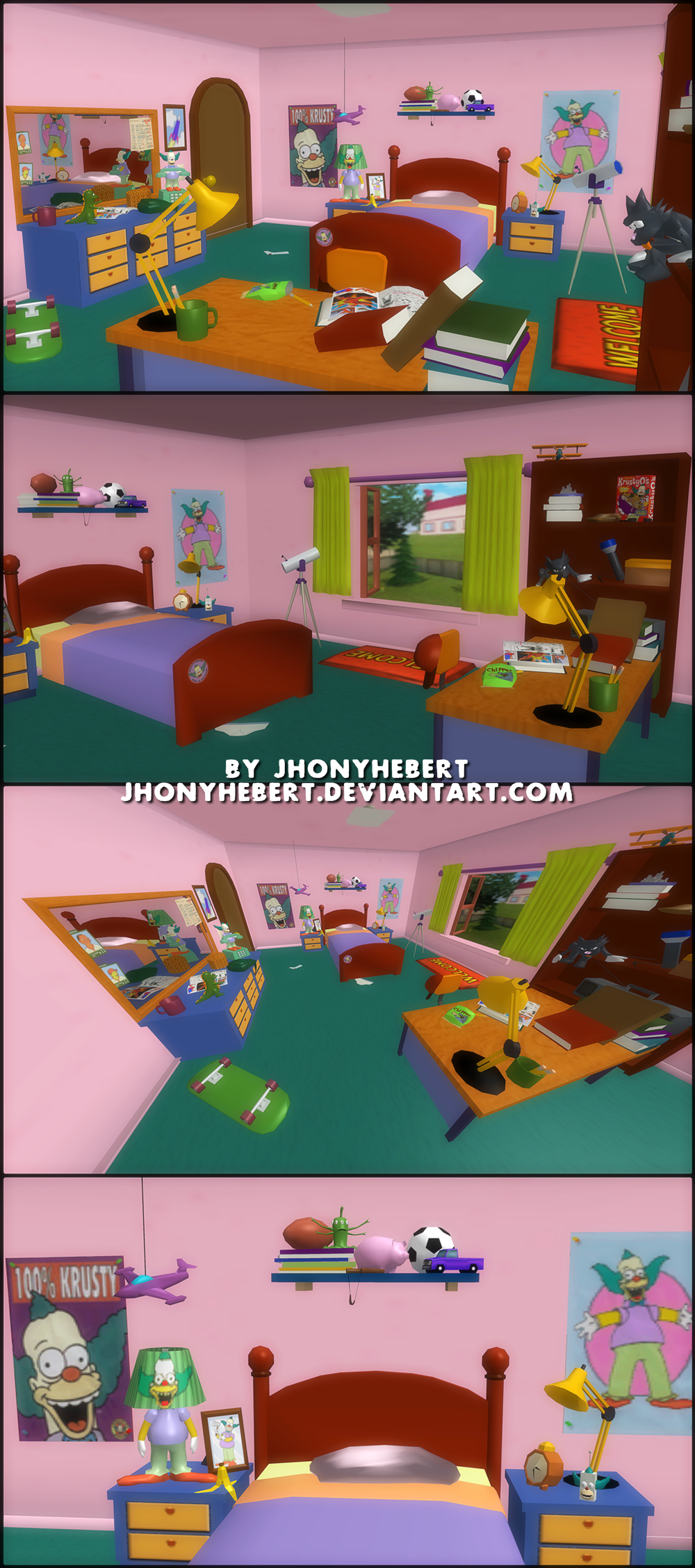 The simpsons hit and run bart bedroom by jhonyhebert on for Simpsons wallpaper for bedroom