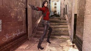 Ada Wong running down the hall