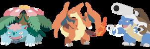 Pokemon X  Y Kanto Starters Mega Evolution Vectors