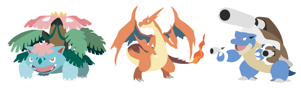 Pokemon X Y Kanto Starters Mega Evolution Vectors by ...