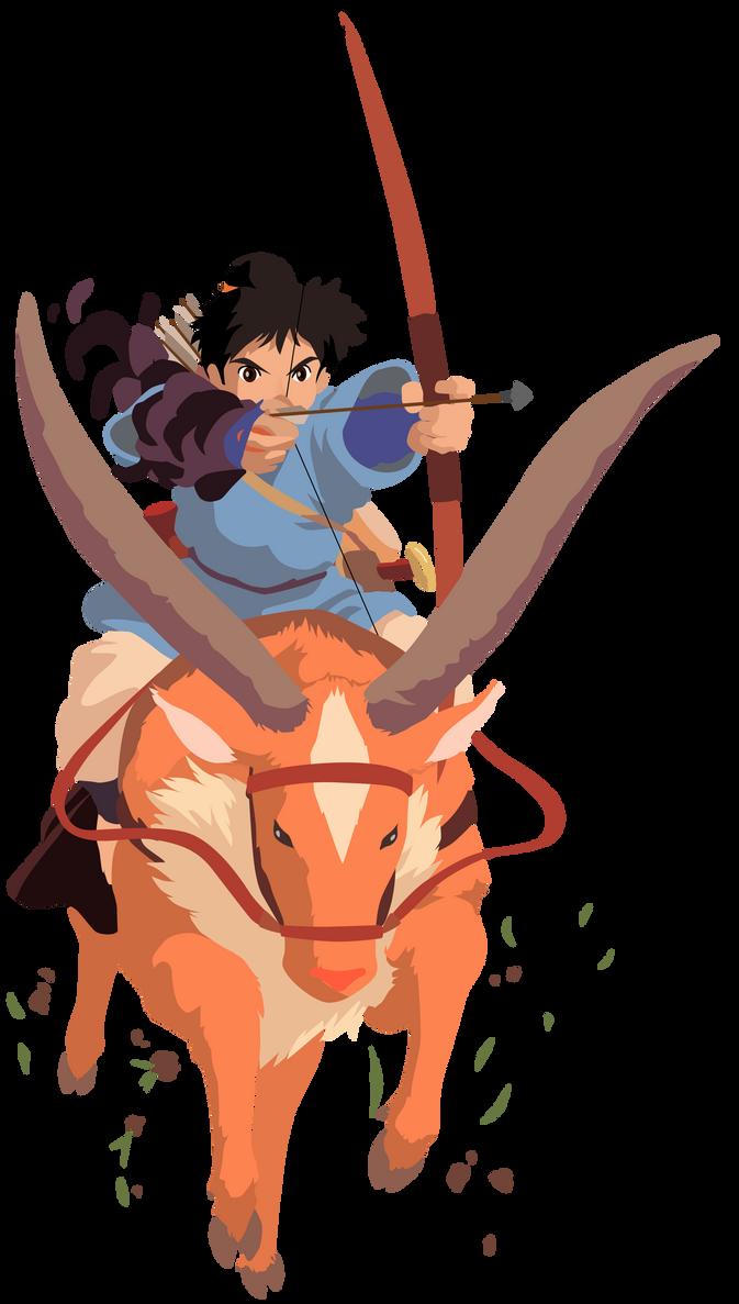 Princess Mononoke - Ashitaka and Yakul Vector by ...