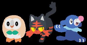 Pokemon Sun and Moon Starters - Vector Art