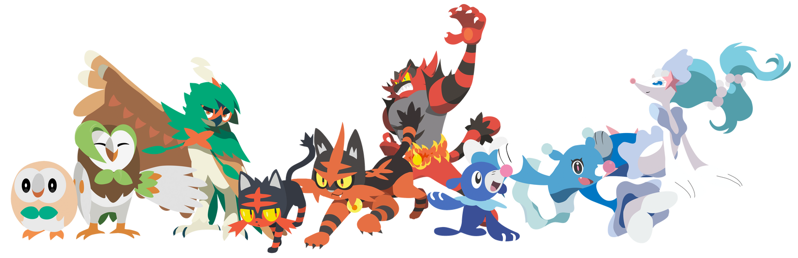 all starter pokemon in sun and moon