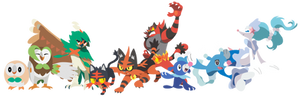Pokemon Sun and Moon Starters and Evos - Vectors