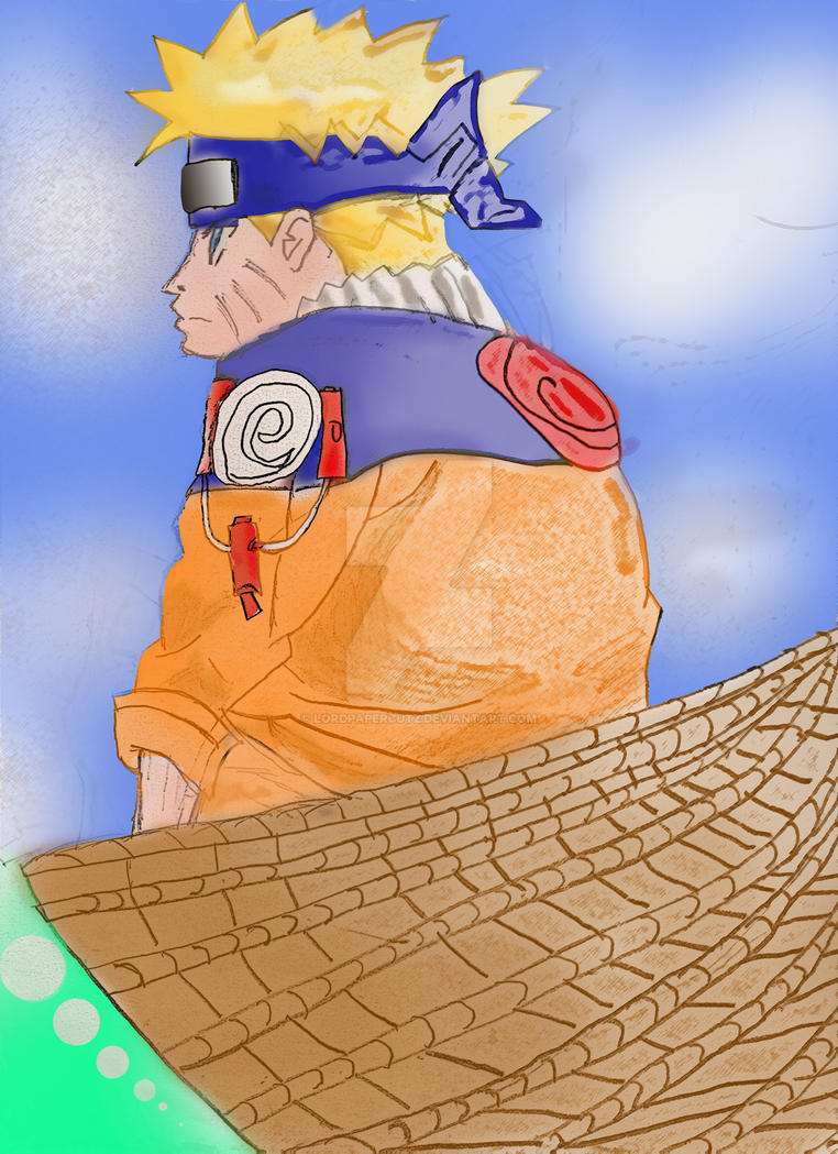 naruto sitting by lordpapercutz