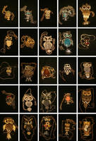 My collection of owl necklaces by The-Horrorpunk