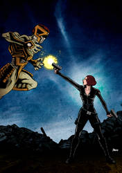 Black Widow Vs Alien (Colored) by daxxbondoc