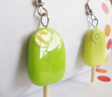 Lemon-Lime Popsicle earrings by kikums