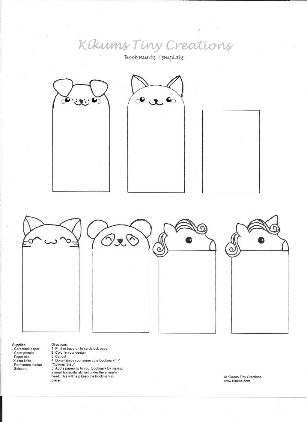 Kawaii bookmark free template by kikums on deviantart for Create your own bookmark template