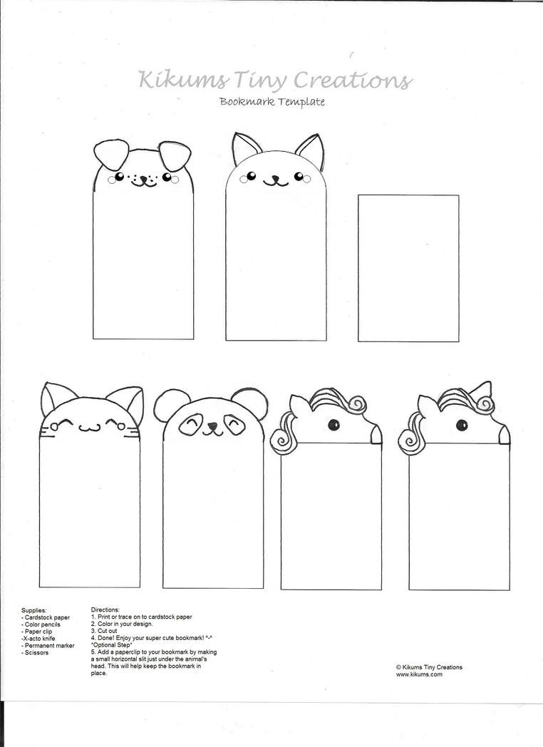 bookmark printing template - kawaii bookmark free template by kikums on deviantart