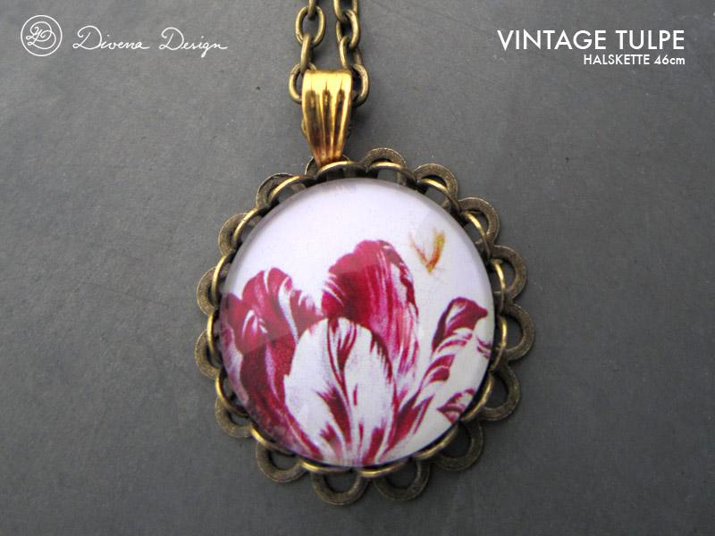 Romantic vintage tulip pendant necklace by Divenadesign
