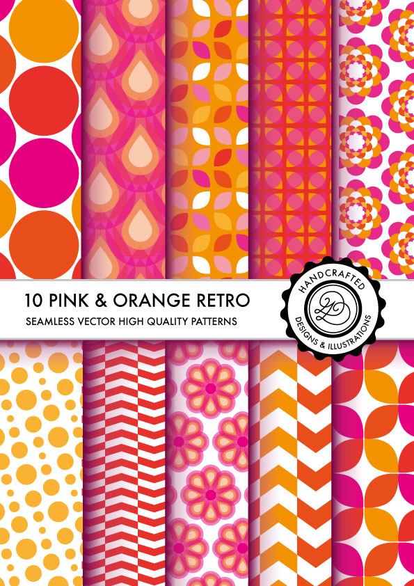 pink and orange retro patterns, seamless DIVENA by Divenadesign