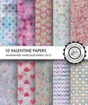 10 digital valentine papers designed by Divena