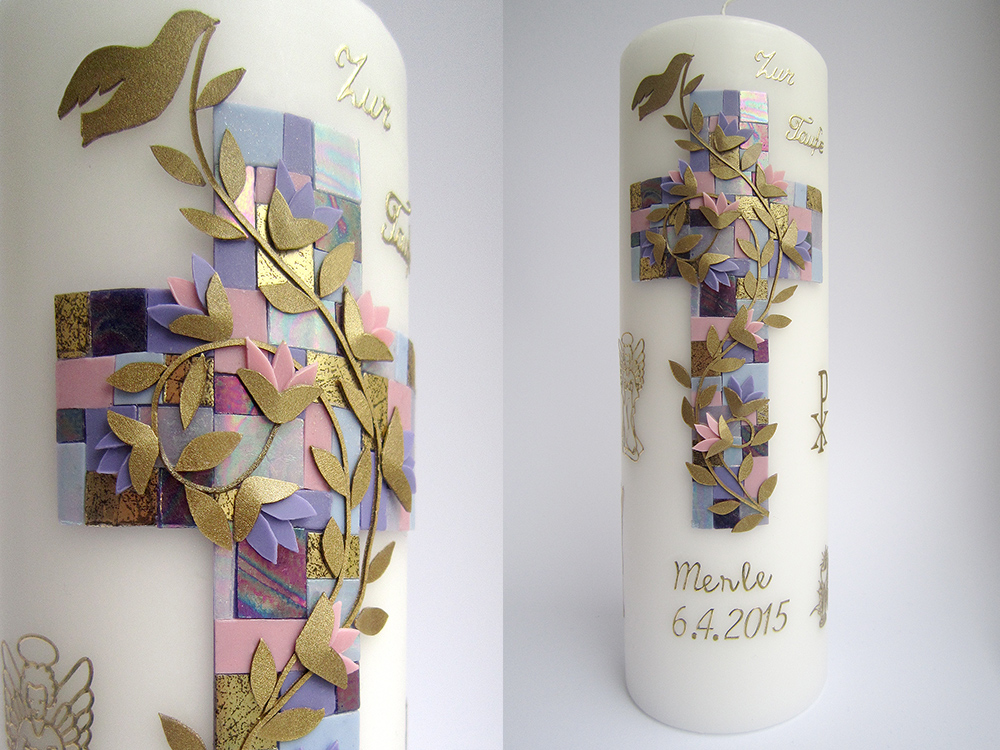 Baptism/christening candle for a girl, Taufkerze by Divenadesign