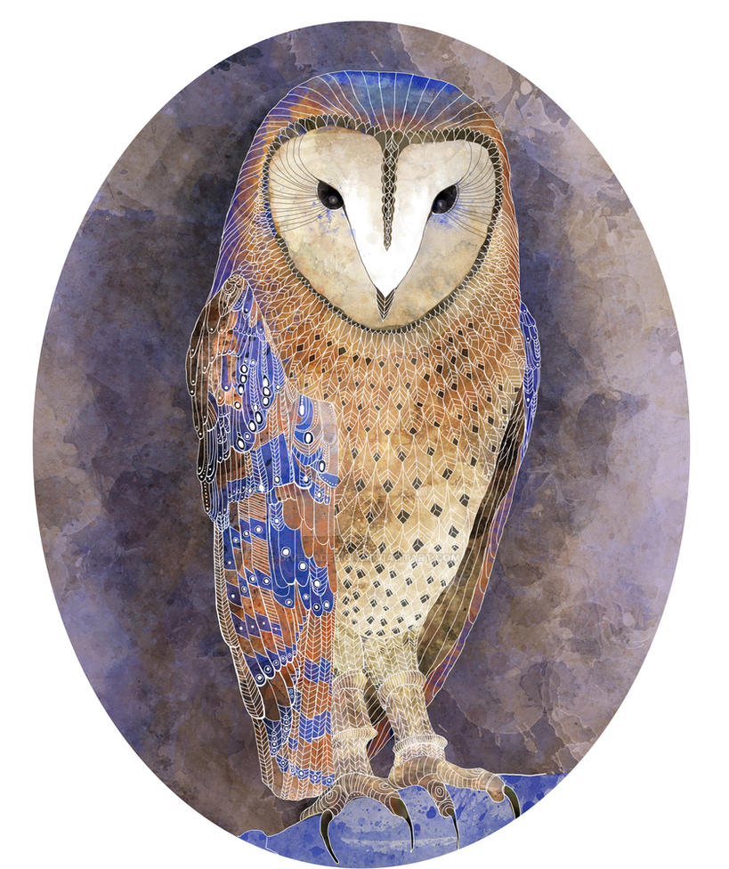Barn Owl watercolor and white ink by Divenadesign
