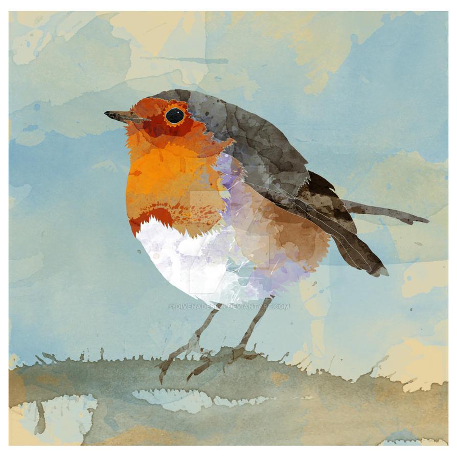 Watercolor Robin by Divenadesign