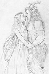Satyr with fairy