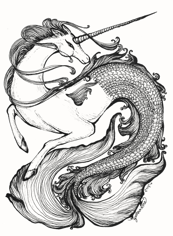 This is a graphic of Impertinent Unicorn And Mermaid Coloring Pages