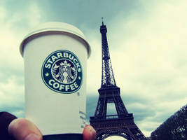 Starbucks and the Eiffel Tower by chandler-nyc