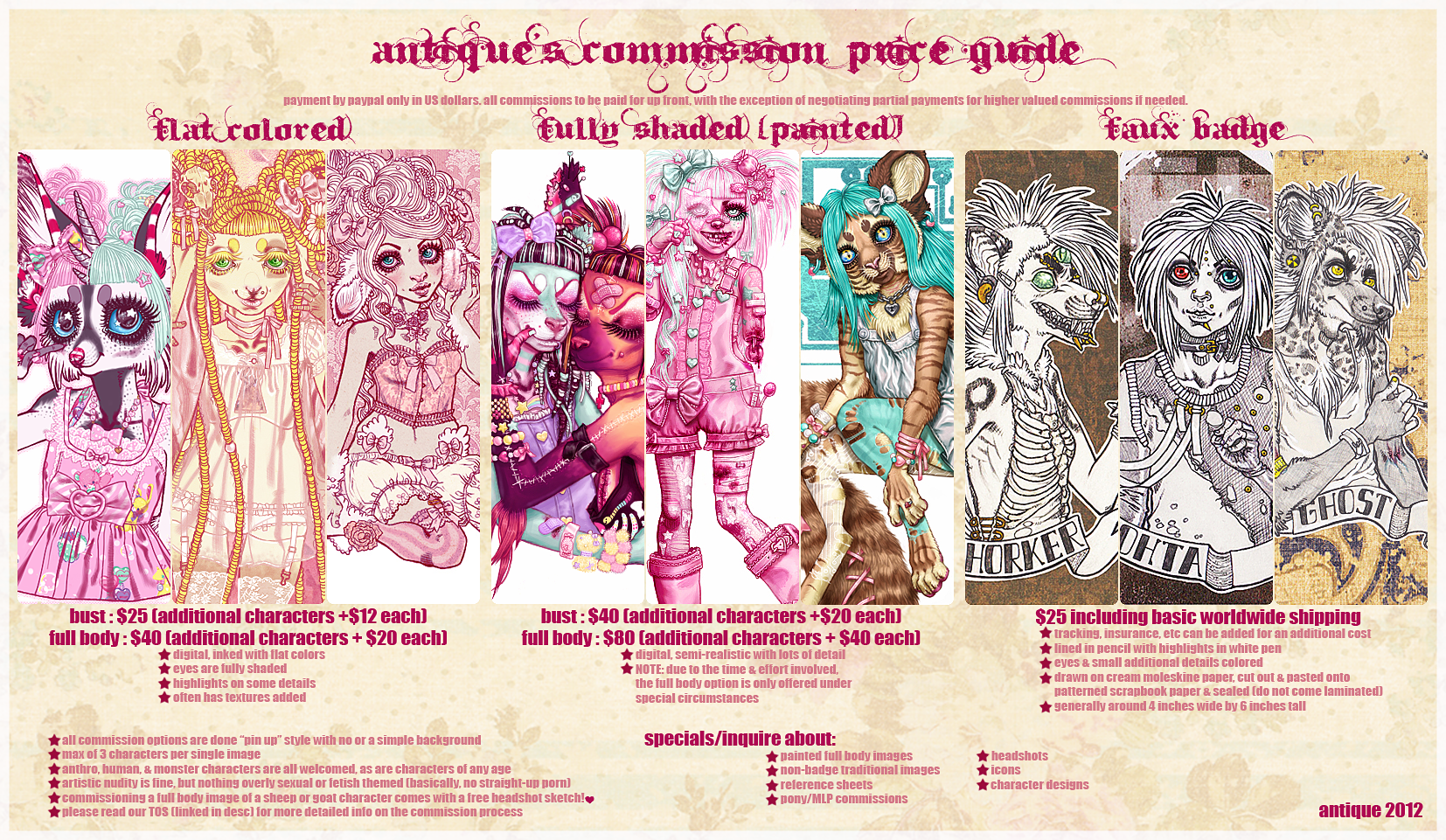 commission price sheet template