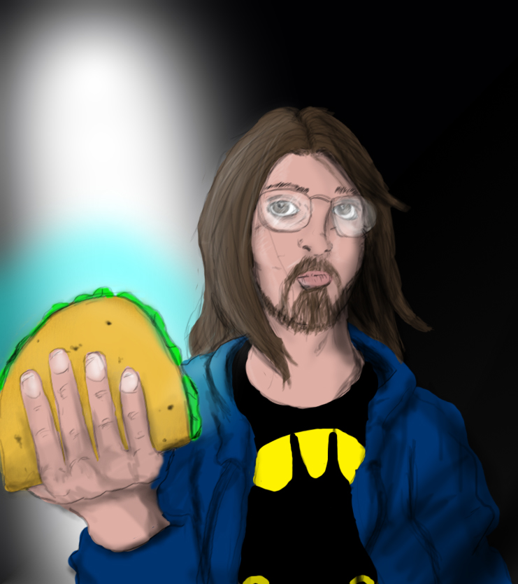 Dramatic Taco Holding Self Portrait by DanMizelle