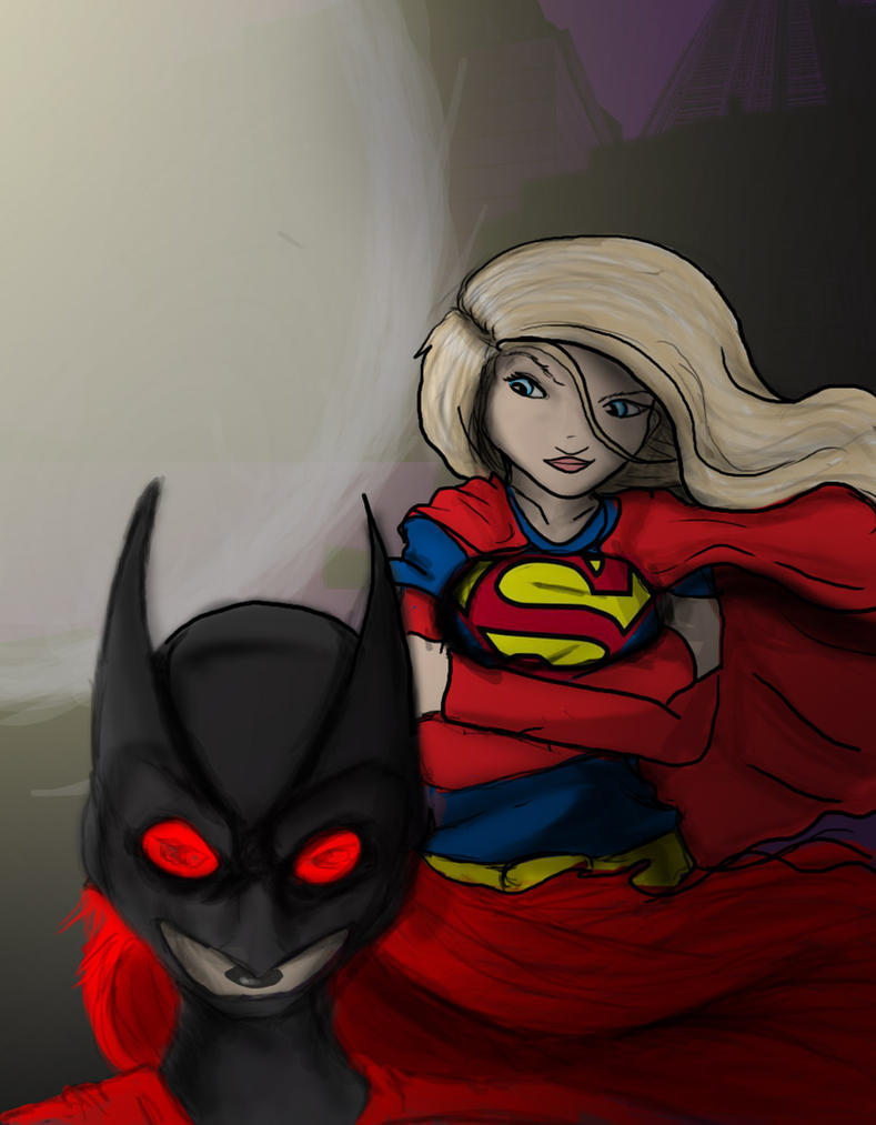Batgirl and Supergirl by DanMizelle