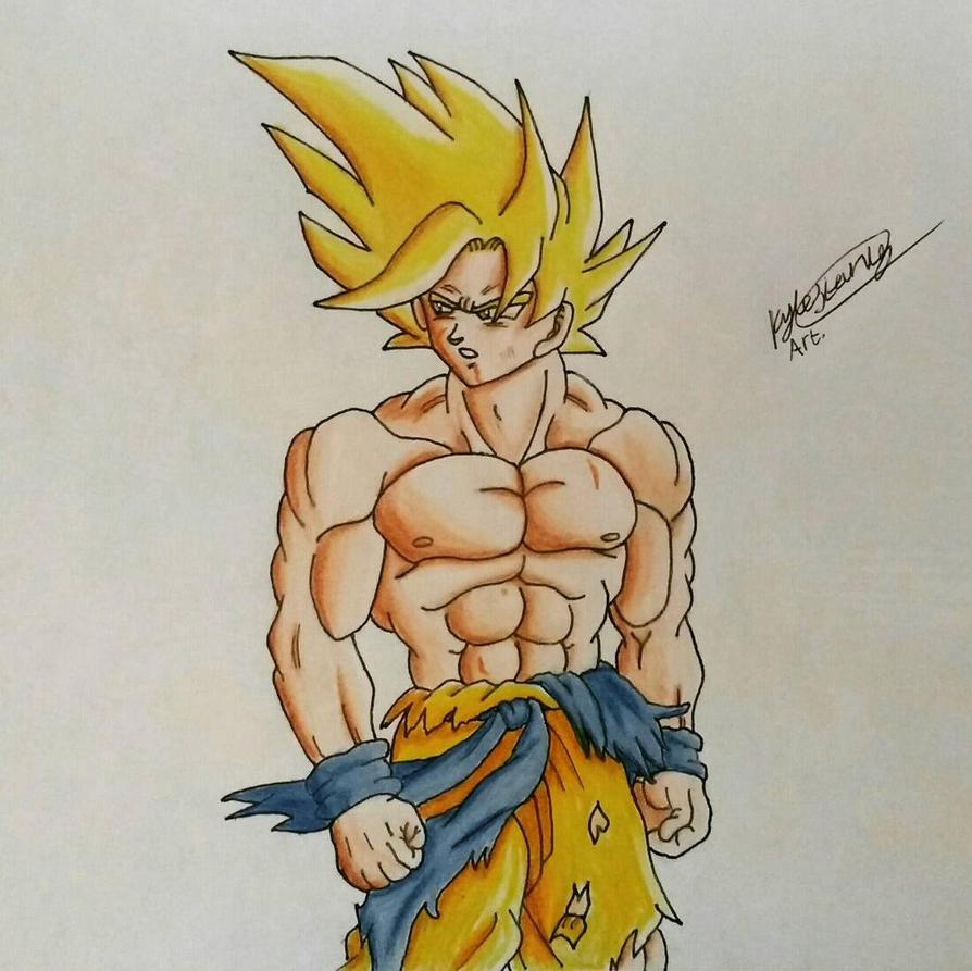 Goku SSJ battle damaged by Luxrainion